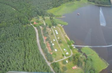 Bild från ovan över campingplatsen