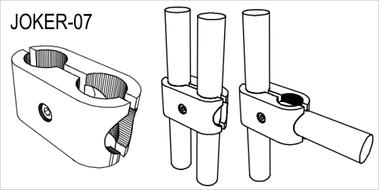 JOKER-07 Соединитель 2 труб комбинированный, хром