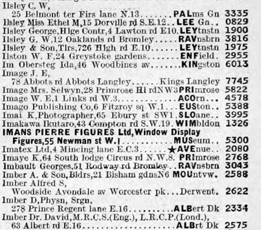 Kinye Imai - 1939 _ London Surnames A - K Aug - page 1239 British Phone Book A-K