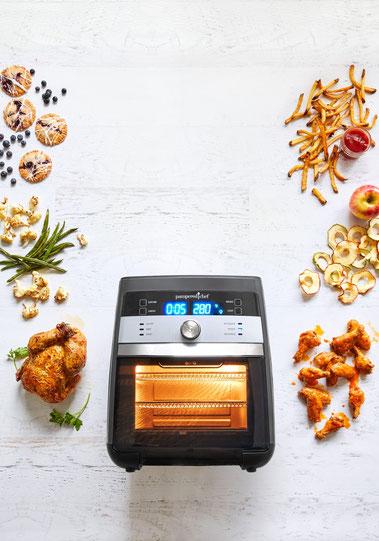 Air Fryer Deluxe von Pampered Chef®, Heißluftfriteuse, Onlineshop, Anleitung, Air fryer Rezept, Zauberküche mit Herze