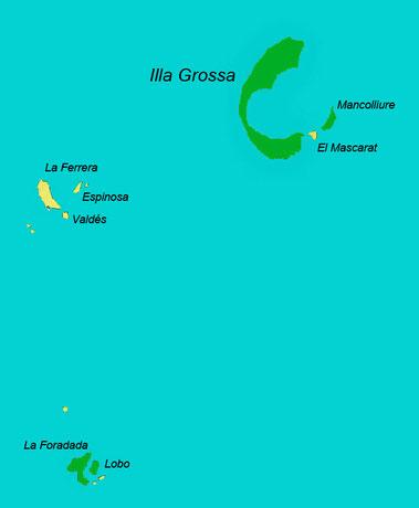 Islas Columbretes. En verde, islas con presencia de lagartijas. © V. Sancho 2010