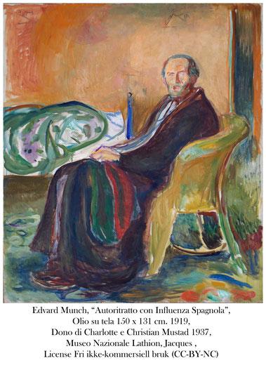 "Edvard Munch, ""Autoritratto con Influenza Spagnola"", Olio su tela 150 x 131 cm. 1919, Dono di Charlotte e Christian Mustad 1937, Museo Nazionale Lathion, Jacques , license Fri ikke-kommersiell bruk (CC-BY-NC)"