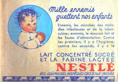 Publicité pour le lait concentré sucré et la farine lactée Nestlé pour éviter la tuberculose
