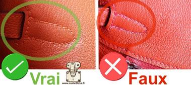 reconnaitre la qualité d'un point sellier sur contrefaçon de sac hermes bag