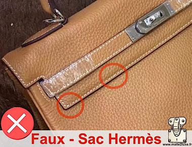 reconnaitre qualité des coutures et finition des cuirs sur un sac hermes kelly attention escroquerie