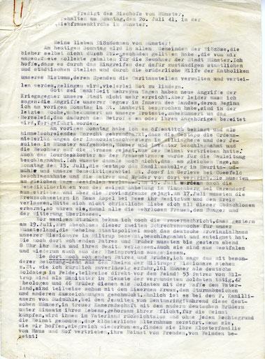 Seite der Original-Predigtabschrift 1941 - Sammlung Henning Stoffers