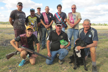 Standing  L to R;  Mark Large, Brodie Seccull, Stephen Tamme, Clayton Easden, Adam Shale, Darren Saunders.  Kneeling -  Rhys McGauran, Mark Reynolds, Graham Coyle with dog 'Cinder'.