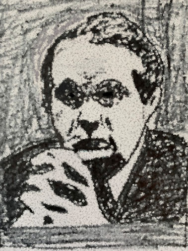 Zeichung von Marcel Hepp. Bild: Zeichnung von Timo Mäule, angelehnt an eine Fotografie.**