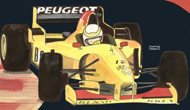 Martin Brundle by Muneta & Cerracín. Cuarta posición de Martin Brundle  del B&H Total Jordan Peugeot con su Jordan 196 - Peugeot V10 en el LXVII Gran Premio d'Italia de 1996