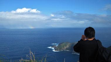 東崎 水平線に虹を発見
