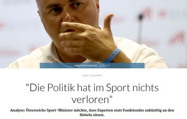 """Alle Politiker sind sich in Interviews einig: """"Politik hat im Sport nichts verloren"""" - die Realität schaut etwas anders aus (Foto: OÖN/GEPA, Beitrag: C. Zöpfl)"""