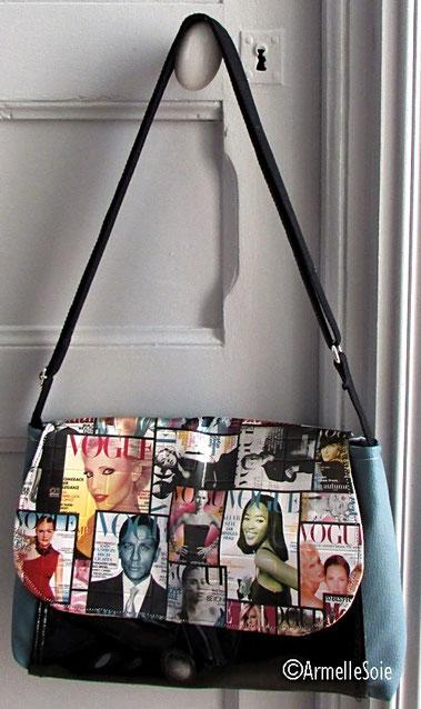 sac,bandoulière, réglable,ajustable,fait main, France, bleu, noir, fabriqué en France, création textile,