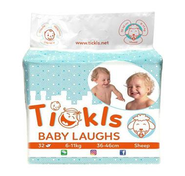 Tickls Sheep : Pannolini per bambino in confezione da 32 pezzi, dai 6 agli 11 kg, vita 36 -36 cm.