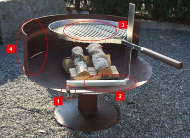 gewölbte Feuerschale Ø800mm mit Fussplatte aus Stahl rostig