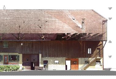 Fassade mit farbigem Orthofoto (Layer)