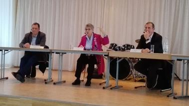 v. l. n. r. :  Daniel Köbler (Grüne), Helga Lerch (FDP), Thomas Barth (CDU)   (Bild: Tim Salfellner)