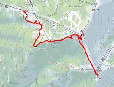 Route von der Gipfelstation Fulseck, auf den Kreuzkogel, zum Spiegelsee, zur Wengeralm