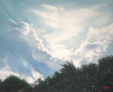 「太陽に目を細める」油彩キャンバス F3