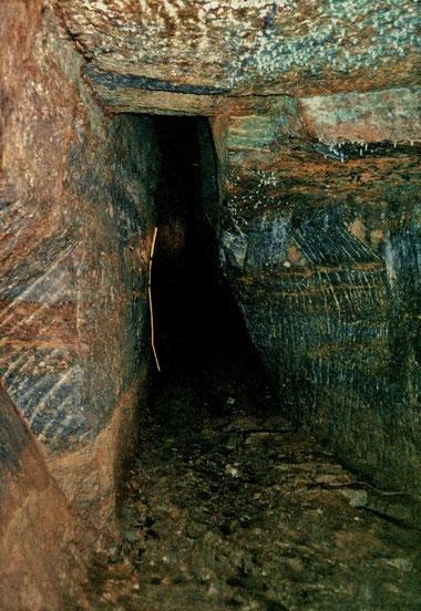 Alter Kobaltabbau (Rücken) im Klingelbergstollen in Schweina - Quelle Steffen Ziegner