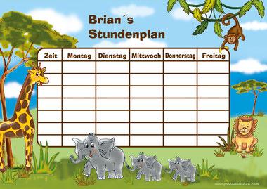 Stundenplan mit Giraffe, Affe, Elefanten und Löwe - liebevoll handgemaltes Motiv