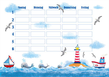 Stundenplan mit Segelboot, Wale, Leuchtturm, Möwen und Schiff - liebevoll handgemaltes Motiv