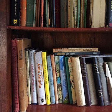 vintage icelandic book library hotel laxnes