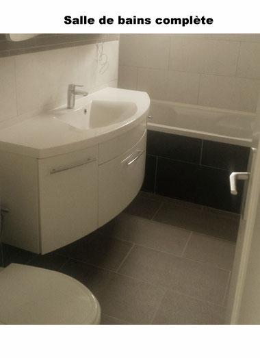 Salle de bains. Rénovation complète. Appartement à Chailly - Lausanne