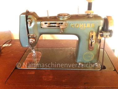 Köhler WZ, entspricht WEBA 520 N, Flachbett-Zickzack-Haushaltsnähmaschine mit CB-Greifer, Fußantrieb, Motornachrüstung mögl., ca. 1953,  WEBA-Werke KG, Ober-Ramstadt (Bilder: K. Mayer)