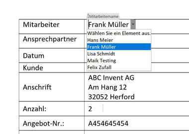 Word-Formular u.a mit Dropdown-Liste