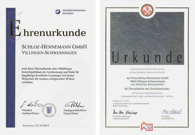 Ehrenurkunde | Handwerkskammer (li.) & Ehrenplakette des Zentralverbandes | LIV (re.)