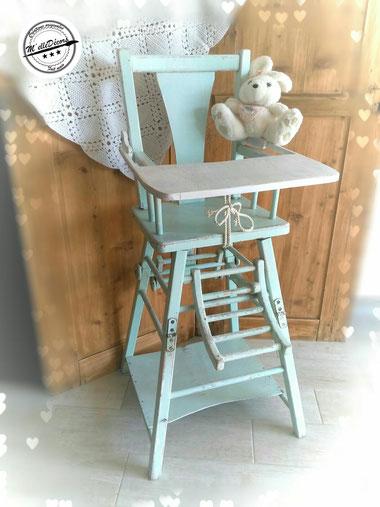 relooking de meuble chaise haute bebe vert d'eau blanc dans son jus le mans sarthe