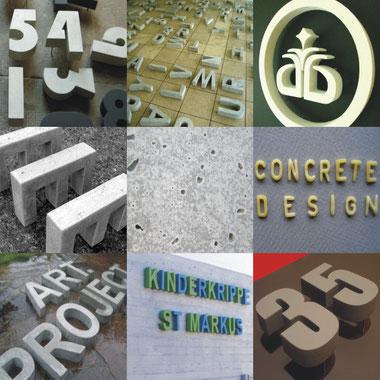 betonfabrik buchstaben zahlen hausnummern objekte