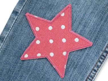 Bild: Aufnäher Stern Punkte altrosa, Bügelflicken Stern,  Sternchen Hosenflicken mit Pünktchen für Mädchen