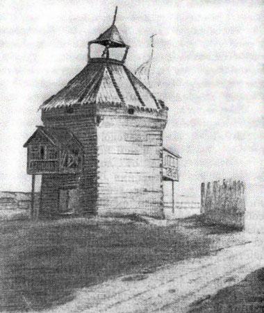 Старинная башня в Якутске. Рисунок Короленко
