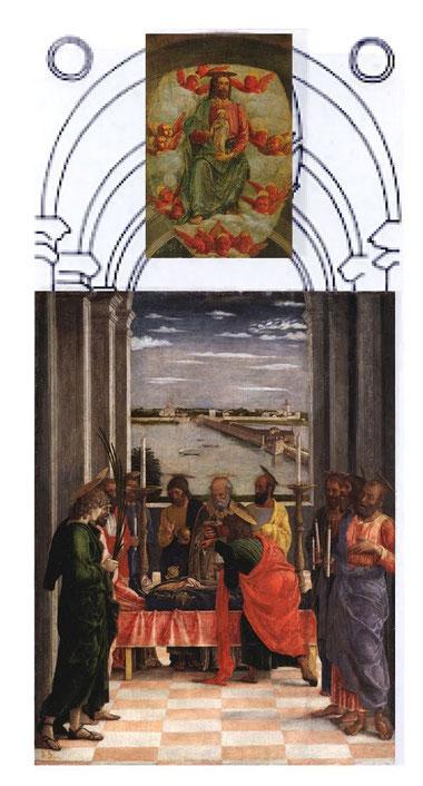 En esta estructura abovedada en la que los apóstoles,tratados como elementos arquitectónicos,construyen una perspectiva en la que arriba Cristo recibe el alma de la Virgen, sería la visión completa de la tabla.