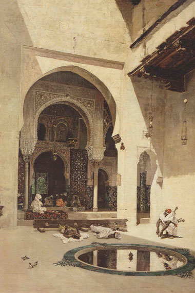 Tribunal de la Alhambra,1871.Óleo sobre lienzo 72x59cm.Una de las obras de mejor crítica,adquirida por Salvador Dalí en 1962.Esta estancia durante la E.Media estuvo destinada a la celebración de audiencias.El interés por los escarnios públicos,asesinatos