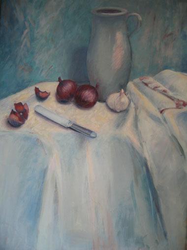 Krug mit roten Zwiebeln, Eitempera, 60x80