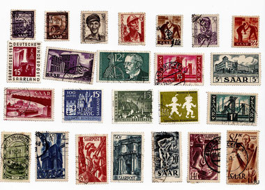 saarland, briefmarken, dudweiler, franken, deutsche bundespost, 1957