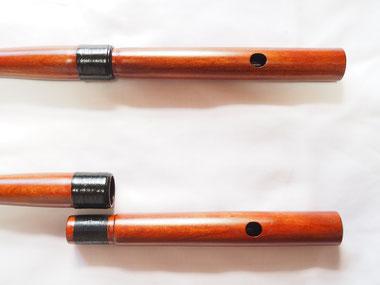 オリジナル横笛(木製)継ぎ管LowD管 吹口穴