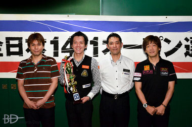 左から、3位斎藤慎太郎、優勝吉岡正登、2位早瀬優治、3位川端聡