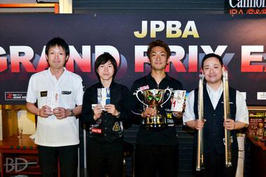 GPE-4入賞者。左から3位赤狩山、2位水下、優勝栗林、3位持永(アマ)