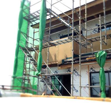 福山市の注文住宅はNacca Designへ!外壁工事風景#1