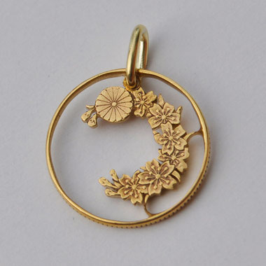 Münzsägewerk Katrin Thull | Japan - Kirschblütenranke goldplattiert