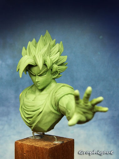 DBZ, dragon ball, Son Goku, Goku, buste, sculpture, handmade, fan bust
