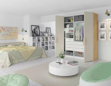 Schlafzimmer Schlafzimmermöbel Schlafen Bett Nachttisch Bettrahmen Schrank Kleiderschrank Drehtürenschrank Regal
