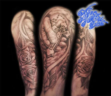 Blue Magic Pins Full religious sleeve in progress; Genk Belgium tattoo