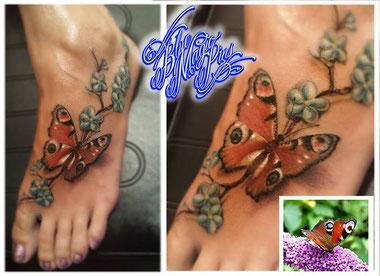 Blue Magic Pins 3D effect tattoo of a beautiful peacock butterfly, Genk Belgium