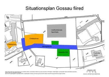 """Festaktivitäten auf dem Gossauer Berg: Situationsplan des Dorffestes """"Gossau fiired"""". Bild: zvg"""