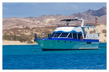 Motoryacht Simply No Stress vor Anker vor Boa Vista auf der Land & Sea Tour Tour mit Boa Vista Tours