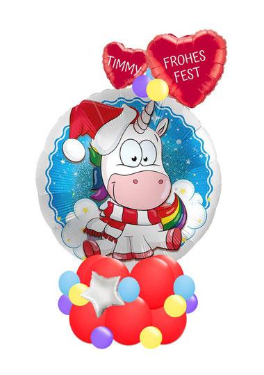 Ballon Luftballon Heliumballon Deko Dekoration Überraschung Mitbringsel Ballonpost Ballongruß Versand Einhorn crazy witzig Mädchen Junge mit Namen personalisiert Personalisierung Geschenk Idee Ballonpost Frohes Fest Weihnachten Nikolaus Weihnachtsgruß